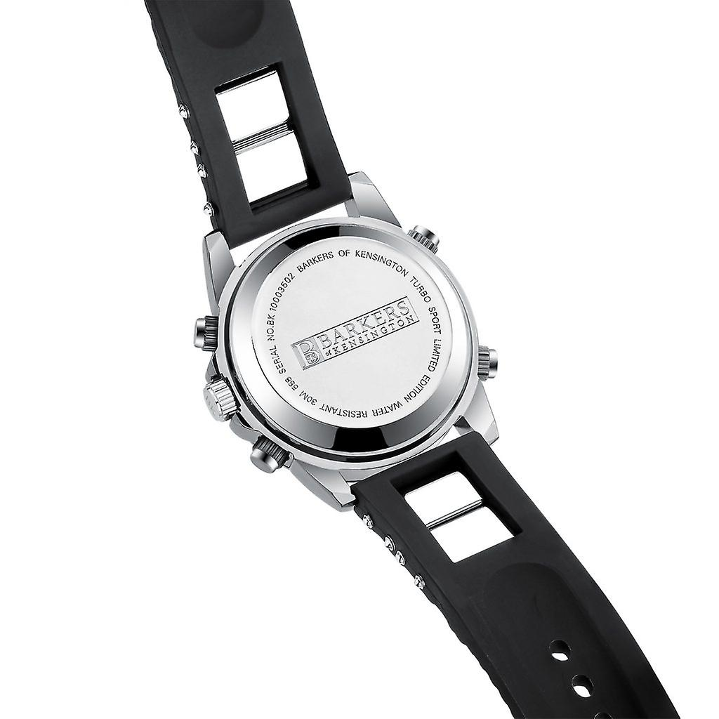 Barkers of Kensington Turbo Sport Black and White Mens Steel Sports Watch with Rubber Strap