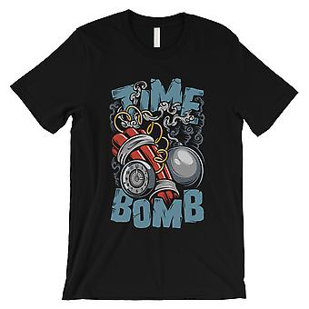 Time Bomb Mens Black Round Neck T-Shirt Unique Vintage Design Tee