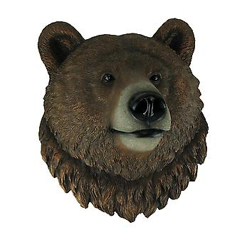 Cali Grizzly Bear Head Mount Wall Statue Bust
