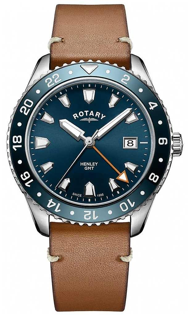 Rotary Mens henley GMT brown leather blue dial GS05108/05 Watch