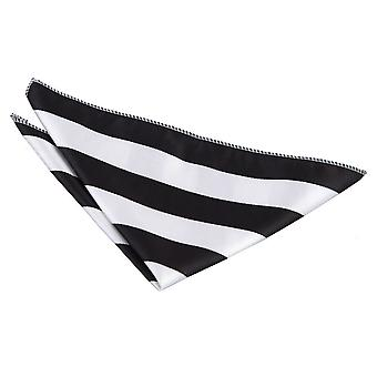 Sort / hvid stribet Pocket Square