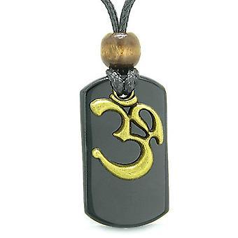古代 OM チベットお守り魔法と保護力黒瑪瑙タグ ペンダント ネックレス