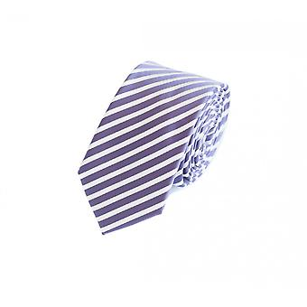 Knyta slips tie slips 6cm lila Fabio Farini vit randig