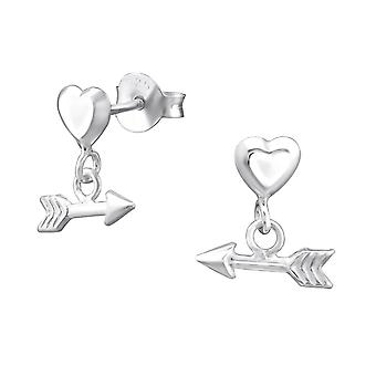 Heart With Hanging Arrow - 925 Sterling Silver Plain Ear Studs - W31994X