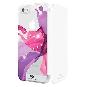5 pack - blanc diamants liquides Booklet Case pour Apple iPhone 5/5 s (rose)