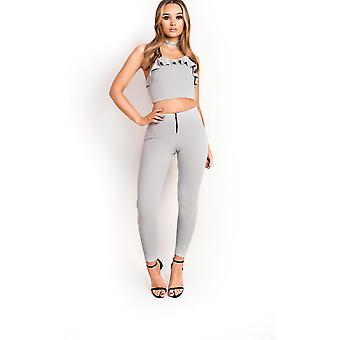 IKRUSH Womens Kharlie frill crossover cropped co-Ord