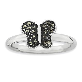 2.25mm 925 Sterling Silver Polished Stackable Expressions Marcasite Butterfly Angel Wings Ring Jewelry Gifts for Women -