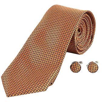 Knightsbridge Neckwear geometrisk utforming slips og mansjettknapper sett - Amber
