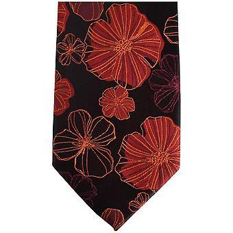 Knightsbridge Neckwear Kensington cravate de soie Floral - noir/rouge