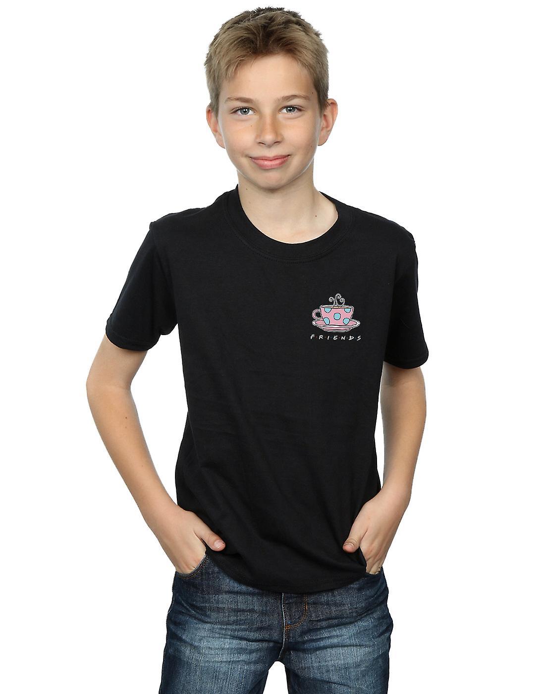 Friends Boys Coffee Cup Breast Print T-Shirt