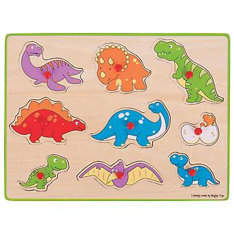 Bigjigs Toys Wooden Chunky Lift Out Jigsaw Puzzle (Dinosaur) Educational Learn