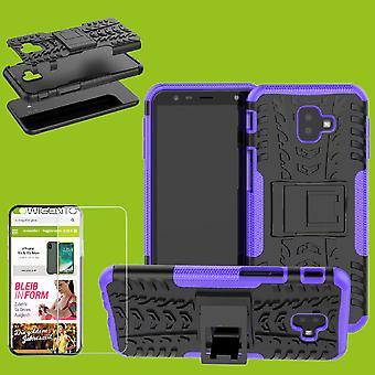 Per Samsung Galaxy J6 plus J610F 2018 ibrido caso di 2 pezzi viola + temperato vetro Borsa Custodia cover custodia