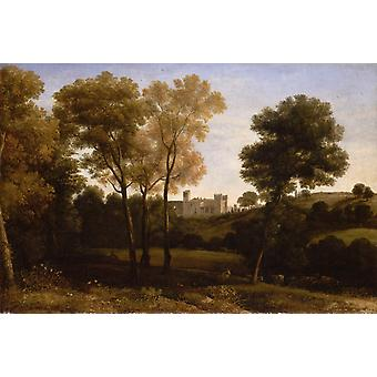 View of La Crescenza, Claude Lorrain, 40x60cm with tray