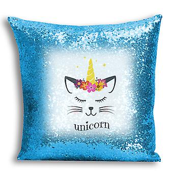 i-Tronixs - Unicorn Printed Design Blue Sequin Cushion / Pillow Cover with Inserted Pillow for Home Decor - 2