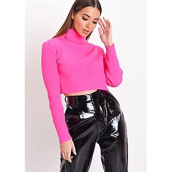 Neon Roll Hals Langarm Strick Crop Top Pink
