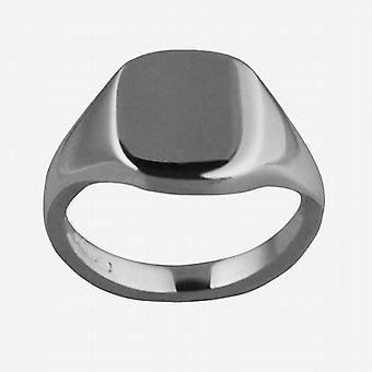18ct White Gold 12x10mm solid plain cushion Signet Ring Size S
