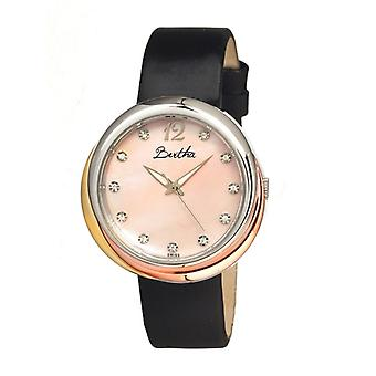Bertha Jean MOP Leather-Band Ladies Watch - Light Pink