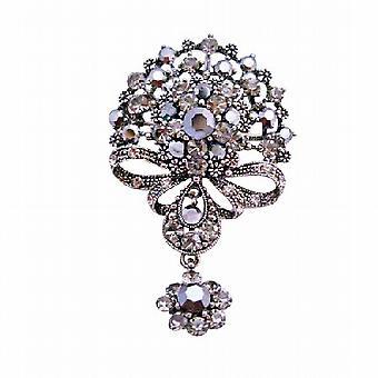 Stile vittoriano nero ossidato penzoloni spilla di cristalli di diamante nero