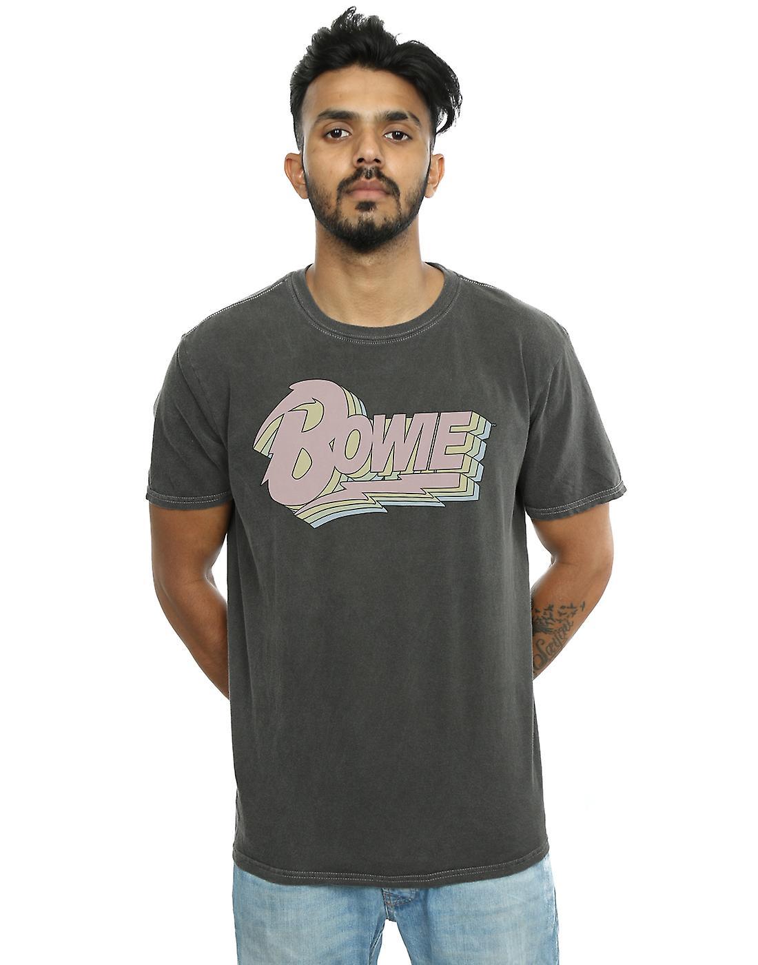 David Bowie Men's Pastel Logo Washed T-Shirt