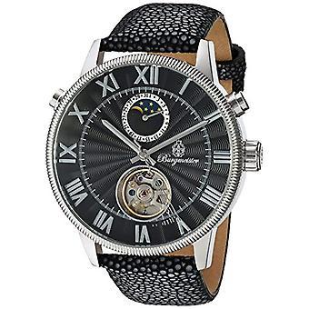 Automatische Herren Armband Uhr schwarz Leder und schwarz Zifferblatt Analog Anzeige Burgmeister BM223-122