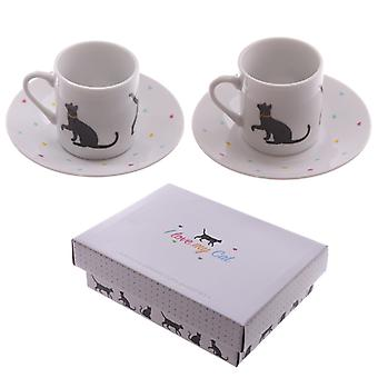 Puckator I Love My Cat Espresso Cup and Saucer Set of 2