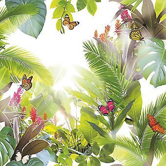 Grünen tropischen Blatt Palm Tree Wallpaper Schmetterling Amazonia Zitrus Arthouse