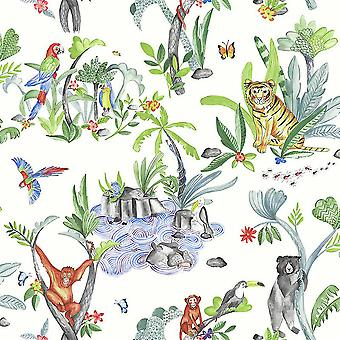 Children's Jungle Mania Animal Pattern Wallpaper Tiger Parrot Hippo White Green