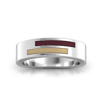 Texas State University Sterling Silver Asymmetric Enamel Ring In Maroon & Brown