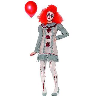 Vintage clown Lady kostuum, Halloween Cirque Sinister fancy dress, UK 16-18
