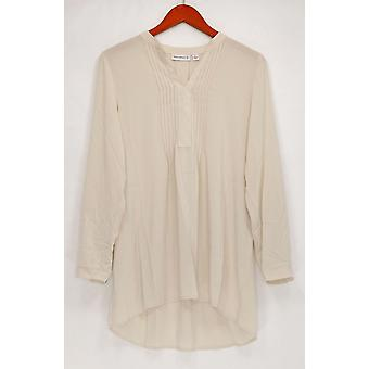 Susan Graver Women's Top Woven Y-Neck Long Sleeve Tunic Ivory A261937
