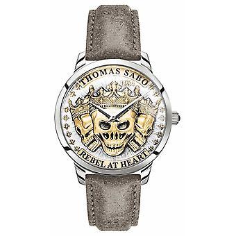 Thomas Sabo - France Crânes 3D Rebel Spirit de Men-apos;s Cadran d'or Bracelet en cuir WA0356-273-207-42