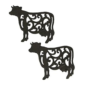 Brown Cast Iron Cow Floral Scroll Trivets Set of 2