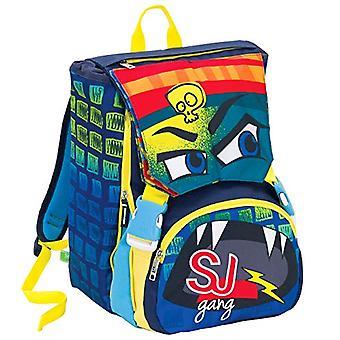 SJ Gang Extensive Backpack Big - Faces - 28 Lt - Blue - Dual - School & Leisure - 41 cm