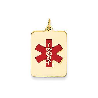 14 k tinta oro giallo con smalto lucido gioielli Medical Engravable ciondolo - 3,0 grammi
