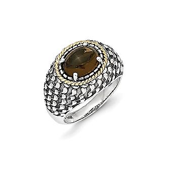 925 Sterling Silver With 14k Smokey Quartz Ring Jewelry Gifts for Women - Ring Size: 6 to 8