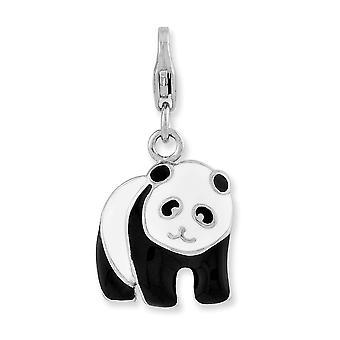 925 Sterling Ezüst Fancy Homár bezárása zománcozott Panda Bear A Homár Csattal Charm Medál Nyaklánc Nyaklánc Ajándékok fo