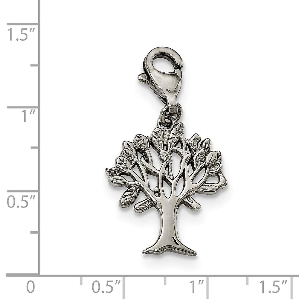 Stainless Steel Polished Tree With Lobster Clasp Charm Pendant Necklace Jewelry Gifts for Women