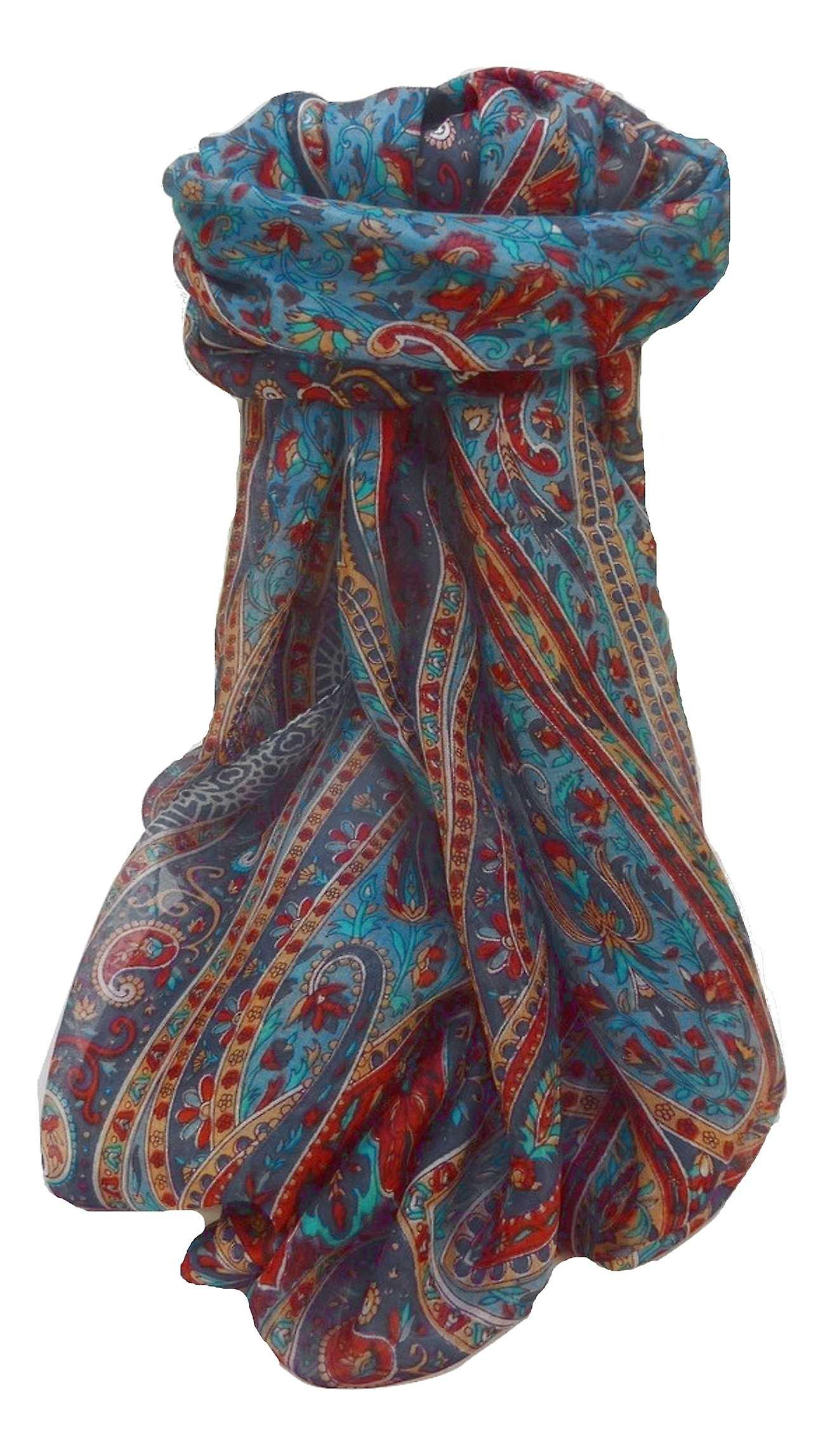 Mulberry Silk Traditional Long Scarf Shreya Navy by Pashmina & Silk