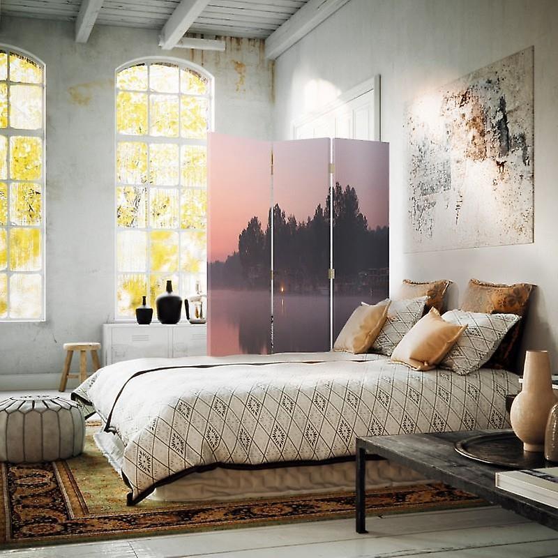 Diviseur de chambre, 3 panneaux, à un seul côté, toile, lac le matin