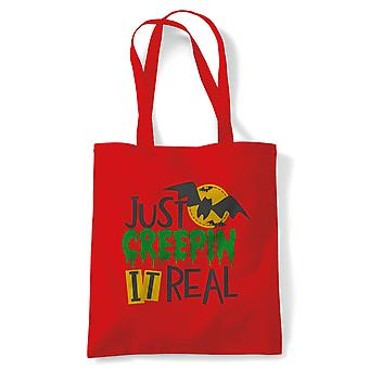 Just Creepin It Real Tote | Halloween Fancy Dress Costume Trick Or Treat | Reusable Shopping Cotton Canvas Long Handled Natural Shopper Eco-Friendly Fashion