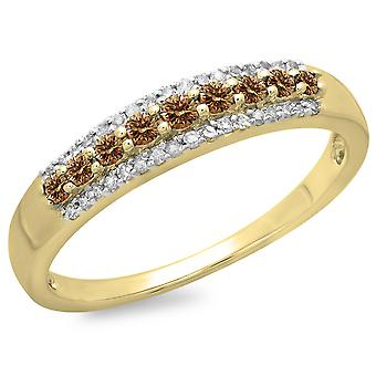 Dazzlingrock Collection 0.40 Carat (ctw) 10K Champagne et White Diamond Ladies Anniversary Band Stackable Ring, Yellow Gold
