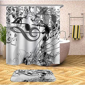 Music Notes Black And White Shower Curtain