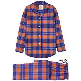 British Boxers Tangerine Dream Two Fold Flannel Pyjama Set - Orange/Blue