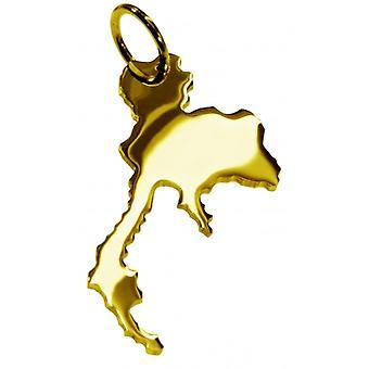 Hänge karta kedja hänge i guldgult-guld i form av THAILAND