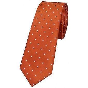 David Van Hagen Pin Dot Thin Silk Tie - Burnt Orange/White