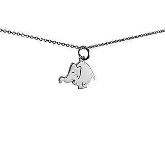 Silver 16x13mm Elephant Pendant with a 1mm wide rolo Chain 14 inches Only Suitable for Children