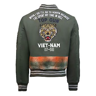 Top Gun Vietnam Canvas Bomber Jacket Olive