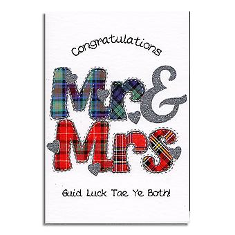 Embroidered Originals Congratulations Mr & Mrs Scottish Wedding Card