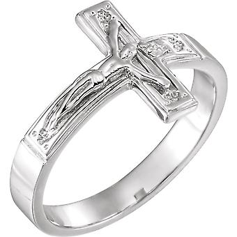 925 Sterling Silver Size 8 Ladies Polished Crucifix Chastity Ring Jewelry Gifts for Women