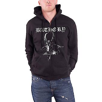 Bathory Hoodie Goat band logo Official Mens New Black Zipped